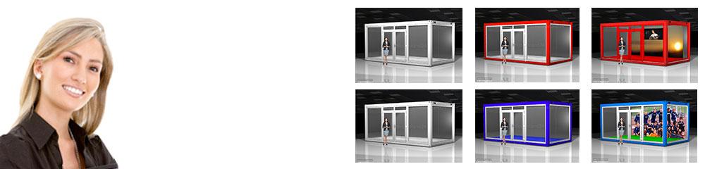 In wenigen Minuten übertragen Sie Look & Feel Ihres Unternehmens auf einen verglasten Eventcontainer