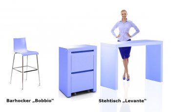 Messemöbel in Firmenfarbe, Stehtisch mit Rollcontainer im Corporate Design