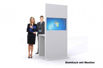 Messe-Stele /Display mit integriertem Monitor